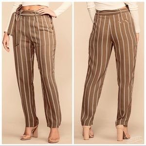 Pants - Striped Camel Cigarette Pants